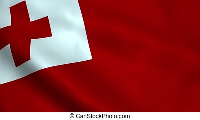 Realistic Tonga flag waving in the wind. Seamless looping.