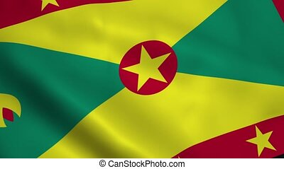 Realistic Grenada flag waving in the wind. Seamless looping.