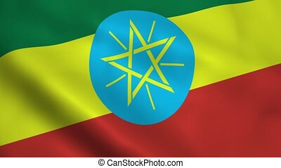 Realistic Ethiopia flag waving in the wind. Seamless...