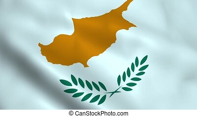 Realistic Cyprus flag waving in the wind. Seamless looping.