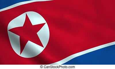 Realistic North Korea flag waving in the wind. Seamless...