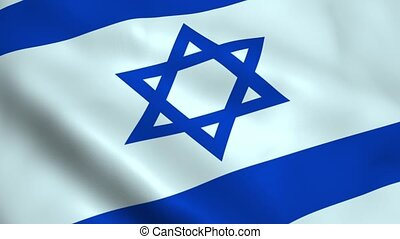Realistic Israel flag waving in the wind. Seamless looping.