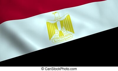 Realistic Egypt flag waving in the wind. Seamless looping.