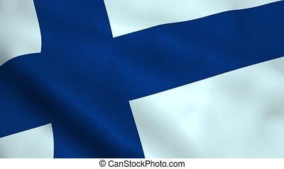 Realistic Finland flag