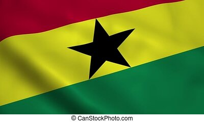 Realistic Ghana flag waving in the wind Seamless looping