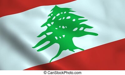 Realistic Lebanon flag waving in the wind. Seamless looping.