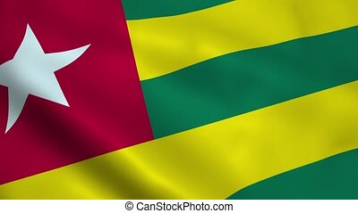 Realistic Togo flag waving in the wind. Seamless looping.