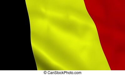 Realistic Belgium flag waving in the wind. Seamless looping.