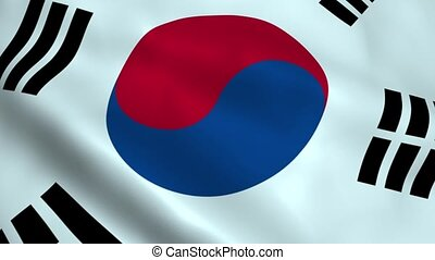 Realistic South Korea flag waving in the wind Seamless...