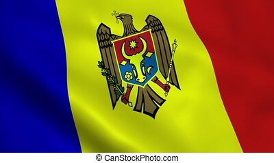 Realistic Moldova flag waving in the wind. Seamless looping.