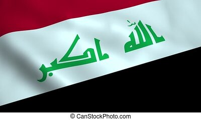 Realistic Iraq flag waving in the wind Seamless looping