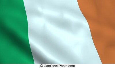 Realistic Ireland flag waving in the wind. Seamless looping.