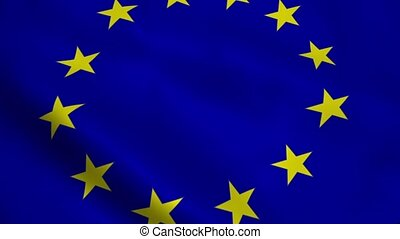 Realistic European Union flag waving in the wind Seamless...
