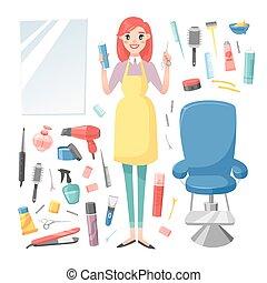 Hairdresser barber girl vector set - Cute girl hairdresser...