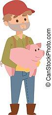 Farmer and pig vector illustration. - Farmer holding on...
