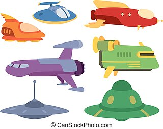 UFO spaceship vector set. - Big collection of UFO crafts and...