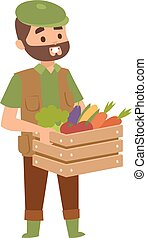 Funny farmer character - Harvest country farmer and organic...