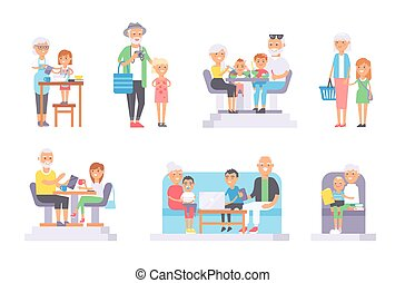 Old and young people vector set - All age group of european...