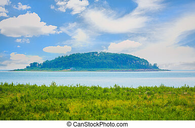 island overgrown with trees in center of lake