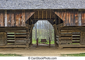 Close Up Of The Tipton Place Barn In Cades Cove - Double-...