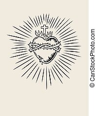 Sacred Heart of Jesus, illustration art vector design