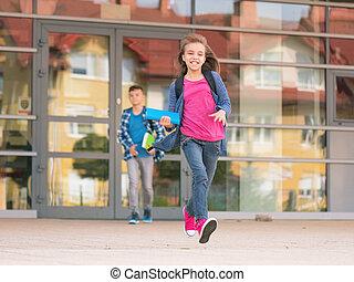 Schule, Kinder, zurück