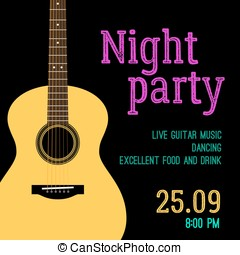 Vector template invitations for a night party with the...