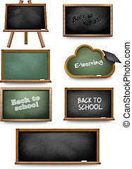 Set of school board blackboards. Back to school. Vector...