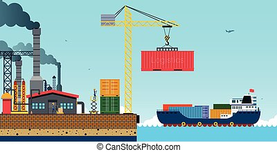 Cargo Shipeps - Warehouse and shipping port with a cargo...