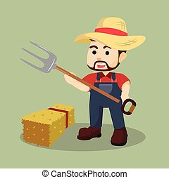 farmer with hay fork