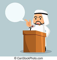 arab businessman giving speech with call out