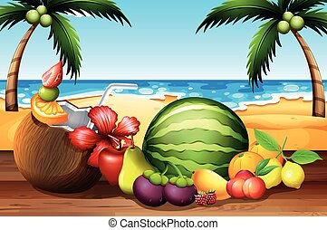 Fresh fruits on the table by the beach illustration