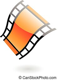 3d film reel isolated on white