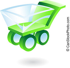 3d shopping cart - green and blue 3d shopping cart
