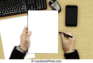 Businessman reading blank document
