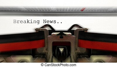 Old typewriter with breaking news