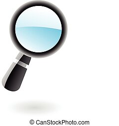 3d magnifier - 3d glossy magnifier isolated on white