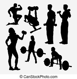 body building sport silhouette - Male and female body...