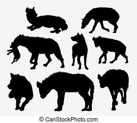 Hyena wild animal silhouette Good use for symbol, icon,...