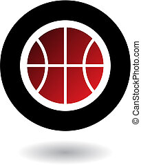 Basketball logo - Red basketball isolated on white