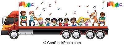 canto, camion, bambini, ballo