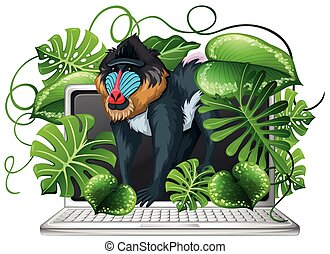 Baboon on computer screen illustration
