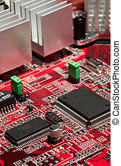 Computer Circuit Board - Red circuit board with electronic...