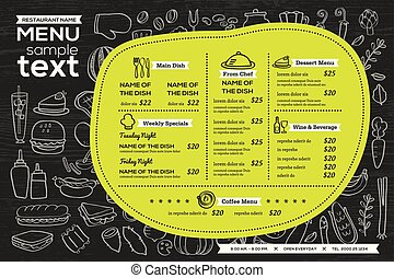 restaurant cafe menu template design food flyer placemat...