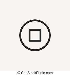 pause outline icon - pause icon of brown outline for...