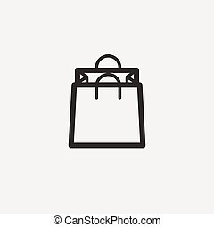shopping bag icon of brown outline for illustration