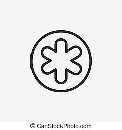 asterisk outline icon - asterisk icon of brown outline for...