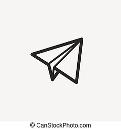 pictograph of airplane icon of brown outline for...