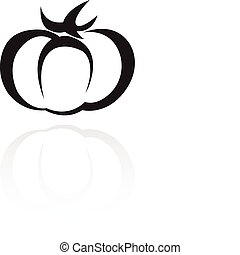 Line art black tomato isolated on white