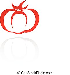 Line art red tomato isolated on white